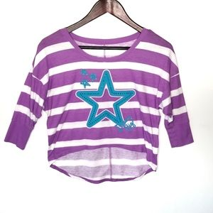 Justice High Low Purple and White Striped Top